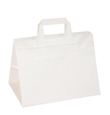 250 Stück Papiertragetaschen/ Kuchentragetaschen weiß 32+17x25 cm - Tragkraft 12 kg !