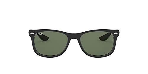 Ray-Ban Unisex New Wayfarer Junior Sonnenbrille, Schwarz (Gestell: schwarz, Gläserfarbe: grün klassisch 100/71), Small (Herstellergröße: 47)