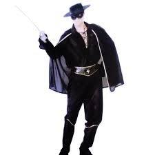 disfraz zorro adulto negro talla M medium