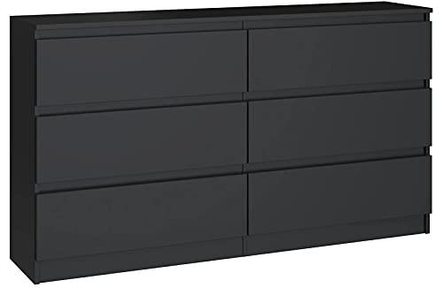 3xEliving Elegante e spaziosa cassettiera Demii 6 cassetti 120cm, perfetta per il soggiorno, l'ufficio, la camera da letto colore nero, dimensioni: 120 x 38 x 78 cm