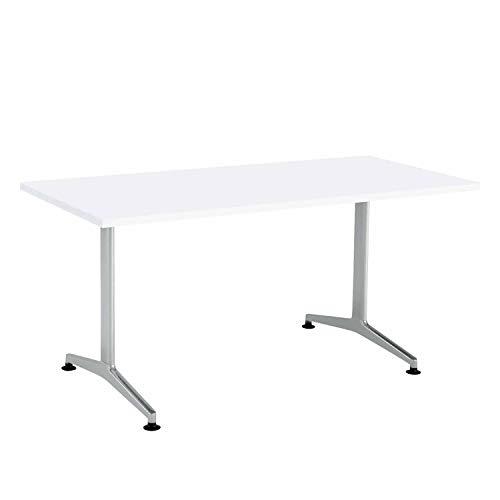 【配送・組立・設置込】 コクヨ ミーティングテーブル JUTO MT-JTT157S81MAW 角形天板 T字脚 幅150×奥行75cm 天板ホワイト/脚フラットシルバー アジャスタータイプ