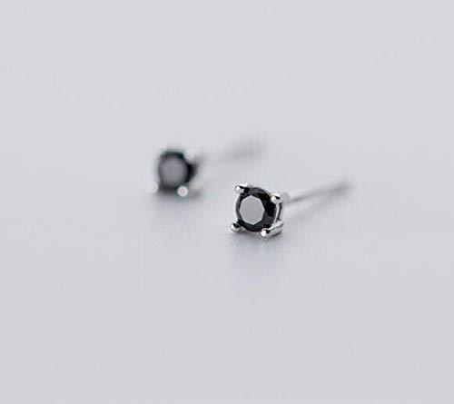 WOZUIMEI Pendientes de Plata S925 Pendientes de Plata Estilo Literario de un Solo Diamante Pendientes de Plata para Hombres Y Mujeresnegro