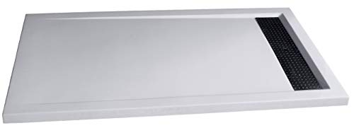 Douchebak van stevig steen (solid stone) 1480BW rechthoekig, 140x80x4,5cm - glanzend wit