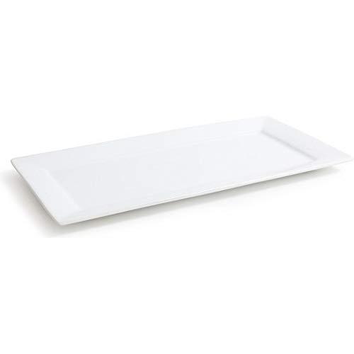 Assiettes rectangulaires en porcelaine blanche - 6 tailles différentes - 36 x 18 cm