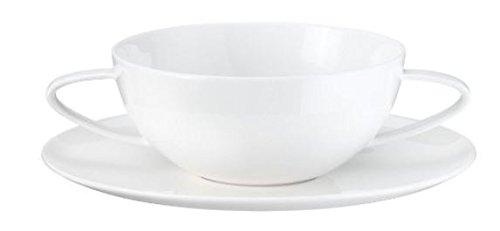 ASA Á Table Suppentasse inkl. Untertasse mit 2 Henkel, Keramik, weiß glänzend, 13x13x5.6 cm
