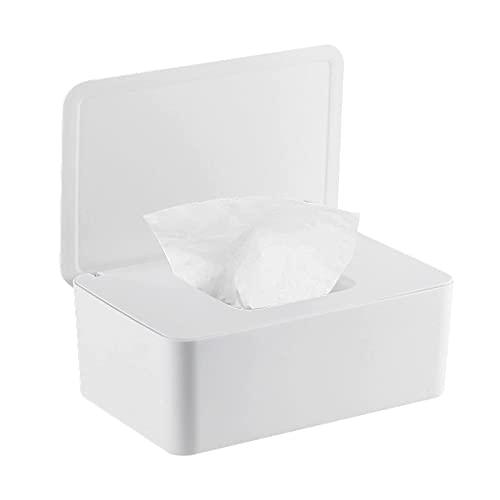 YOUYIKE® Caja para Toallitas, 18.5 x 12.2 x 7 cm Dispensador de Toallitas Húmedas, Caja de Pañuelos con Tapas, Caja de Almacenamiento de Pañuelos a Prueba de Polvo para Oficina en Casa (Blanco)