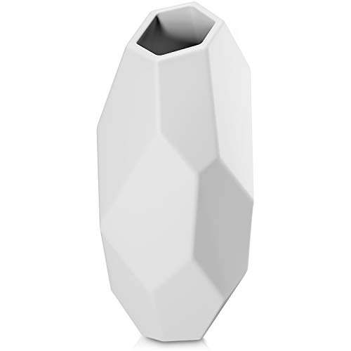 Geometric White Vase for Flowers Gift the Perfect Flower Vase White Ceramic Vase Stylish White Vases for Decor White Decor White Vases for Flowers Tall White Vase Modern Vase for Office (White)