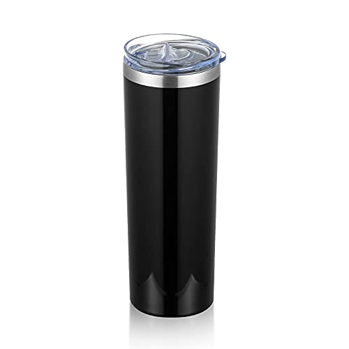 TUMZAK 20oz Skinny Travel Tumbler, Stainless Steel Skinny Tumbler, Double Wall Vacuum Insulated Coffee Tumbler with Lid, Bulk Powder Coated Tumbler Cups for Coffee, Beverages, Tea (Black, 1 Pack)