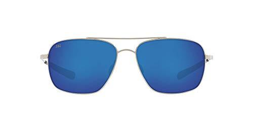 Costa Del Mar Men's Canaveral Polarized Round Sunglasses, Shiny Palladium/Grey Blue Mirrored Polarized-580G, 59 mm -  Costa del Mar Sunglasses, CAN21OBMGLP