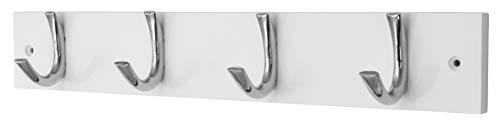 Headbourne Hr0100H Moderne kapstok met 4 chromen haken op een witte houten plank
