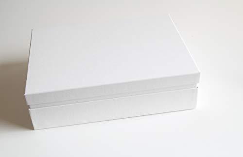 Juego de 10 cajas de almacenamiento prémium para documentos y regalos, 32,5 x 23,5 x 9,0 cm, aptas para DIN A4, fabricadas en Alemania, color blanco y blanco