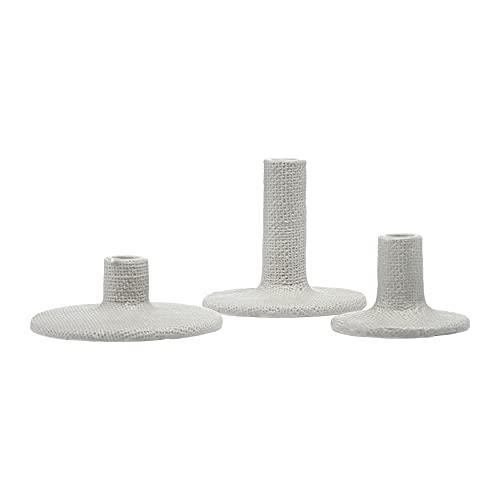 Main + Mesa Decorative Stoneware Taper Candle Holders, Set of 3, Graphite, light graphite gray