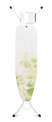 Brabantia 111143 -Mesa de planchar, Soporte para planchas de vapor, Estructura Blanco Puro, Multicolor (Leaf Clover), 110 x 30 cm
