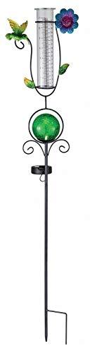 Bonetti Regenmesser mit LED Beleuchtung für den Garten, 2-in-1 Funktion, Metall-Erdspieß, farbige Glaskugel in Bruchglas-Optik, Niederschlagsmesser aus Glas (grün mit Kolibri & Blume)