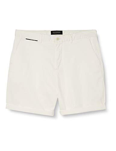 Scotch & Soda Herren Pima-Baumwoll Shorts, Weiß (Denim White 0102), W32(Herstellergröße:32)
