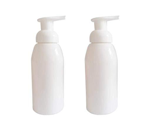 2 dispensadores de jabón de espuma de 250 ml vacíos de color blanco para bombeo, relleno, botellas de espuma líquida, jabón de mano, soporte para botellas de prensa