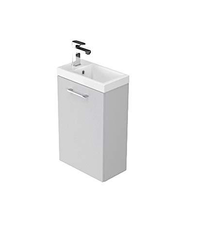 Il set Lara 40 cm grigio lavabo mobile da bagno in bianco lucido superficie bagno piccolo bagno degli ospiti composto da lavabo e lavabo stretti mobili da bagno per ospiti WC