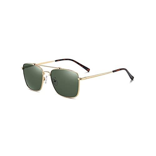 Heigmz Nvtyj Gafas de sol para hombres y mujeres, polarizadas y protección, marco de metal, un espejo de bloqueo de luz que puede bloquear eficazmente el sol (color: verde)