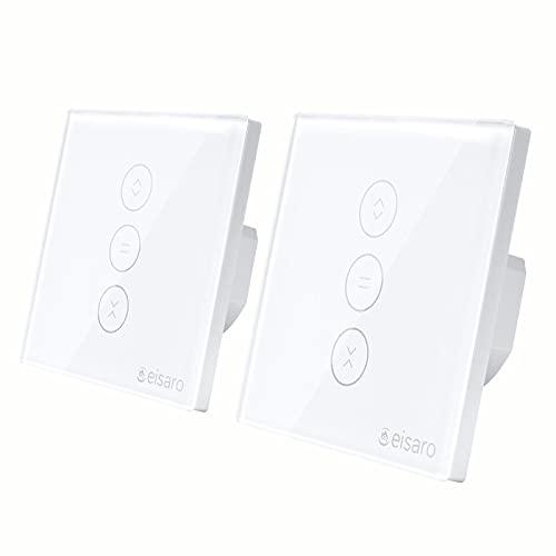 2Pcs Interrupteur Volet Roulant Connecté, Roulant Interrupteur Connecté Compatible avec Alexa, Google Home et Siri, Interrupteur Tactile Éteint la LED par L'APP, Timer et Partager