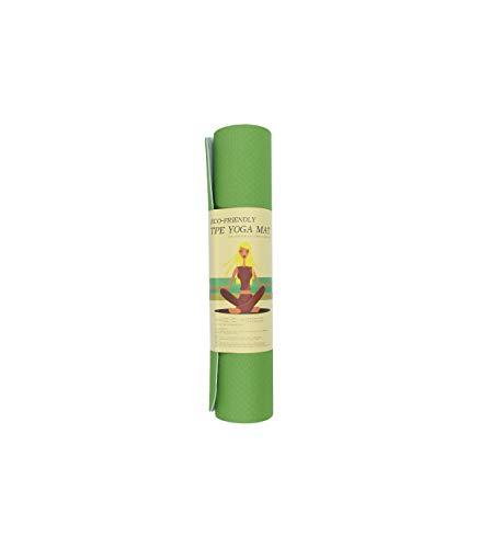 Riscko | Esterilla Yoga Pilates Antideslizante Bicolor TPE 183 x 61 cm, Grosor 6 mm, Tapete para Yoga | Verde Claro