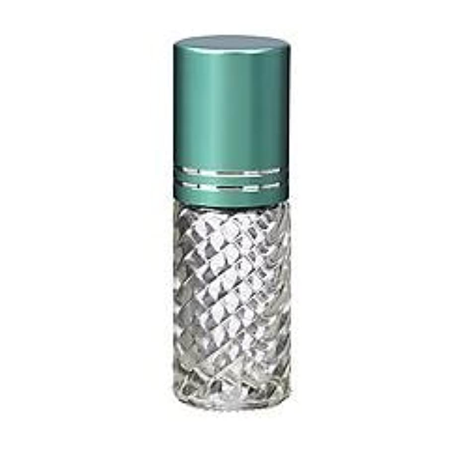 周囲岩ファセット4 Bottles Fancy Large 30ml Roll On Empty Glass Bottles for Essential Oils Refillable 1 Oz Glass Roller Ball Roll-On 30 ml Clear Swirled Glass w/ Upscale Teal Turquoise Aluminum Caps by Grand Parfums [並行輸入品]