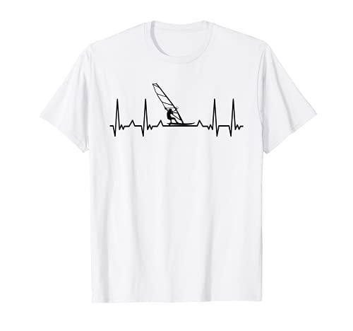 Surfer Heartbeat Windsurfing Tabla de surf Surf Windsurfer Camiseta