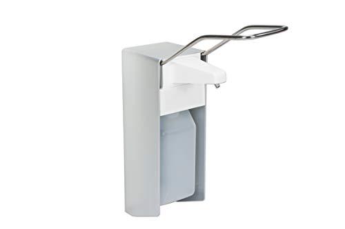 1 Desinfektionsspender Alu 500 ml Euronorm - langer Hebel - mattsilber - Edelstahlpumpe