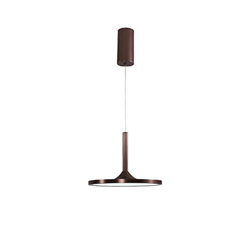 Petite Lampe Suspension LED Chaud Blanc Moderne Ronde Design Décoration Salon Salle à Manger Cuisine Éclairage Table À Manger Appartement Aluminium Acrylique Abat-Jour Brun D23cm 24W 3000K