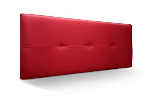 Cabecero de Madera Jazmin, tapizado Acolchado en Polipiel Color Rojo. Cabeceros Madera para Dormitorio | Cama Matrimonio | Cama Juvenil | Camas de 135 cm, 140 cm, 150 cm, 160 cm