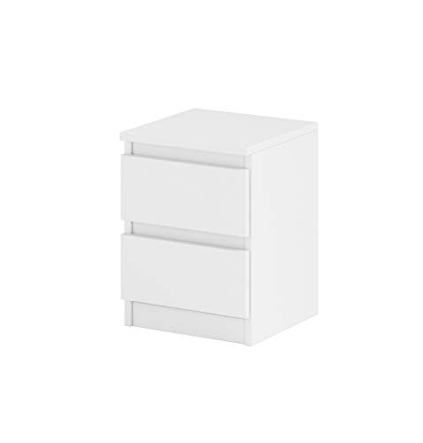 Nachttisch Sideboard, Kommode mit 2 Schubladen Weiß Matt