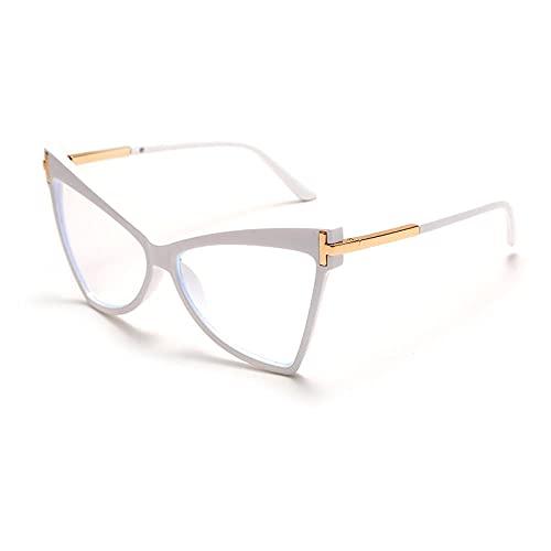 Powzz ornament Gafas graduadas para miopía, gafas transparentes de ojo de gato para mujeres y hombres, montura de anteojos ópticos, montura de gafas transparente Unisex-8_China