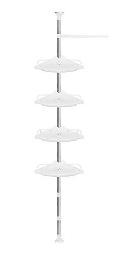 ISO TRADE Eckregal Dusche Teleskopstange 230-292cm 4 Ablagen 1 Aufhänger Gummifüße 6548