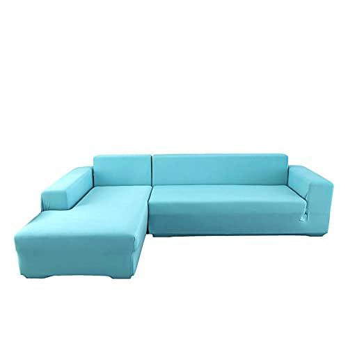 Funda para Sofá en Forma de L, Funda para Sofà Seccional 2 Piezas Elástica Funda de Sofá Chaise Lounge Suave Lavable Antideslizante Protector de Muebles para Sala de Estar,Blue,2+3 Seater