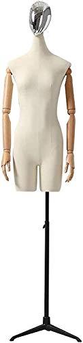 YZJL Cuerpo de Torso de maniquí Femenino con Forma de Vestido de Cabeza Plateada con Soporte de trípode de ajustemaniquí