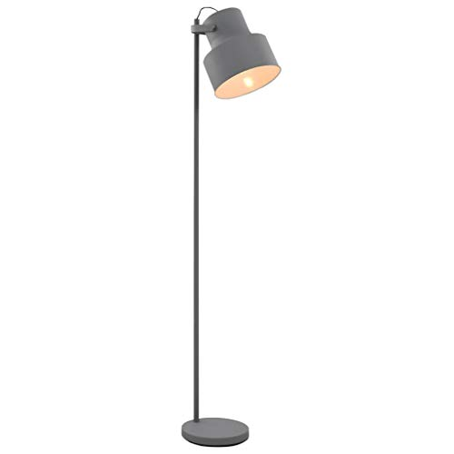 vidaXL Stehlampe EIN-/AUS-Fußschalter Modernismus Design Stehleuchte Standleuchte Bodenlampe Leuchte Lampe Wohnzimmerlampe Metall Grau E27