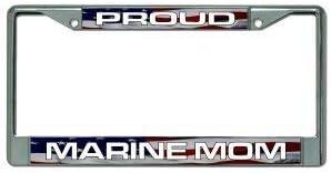Proud Marine Mom Chrome License Plate Frame