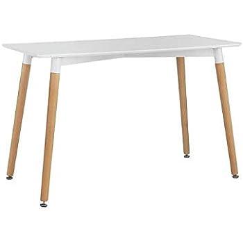 Snug Furniture Tavolo da Pranzo Moderno Rettangolare Bianco da Cucina con Gambe in faggio