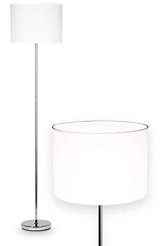 NÄVE Stoff Stehlampe New York weiß - Stehleuchte 160 x 34,5 cm mit 1x E27 Fassung 40W - Standleuchte modern aus Stoff ideal für Wohnzimmer & Schlafzimmer - Wohnzimmerlampe, Standlampe, Leselampe