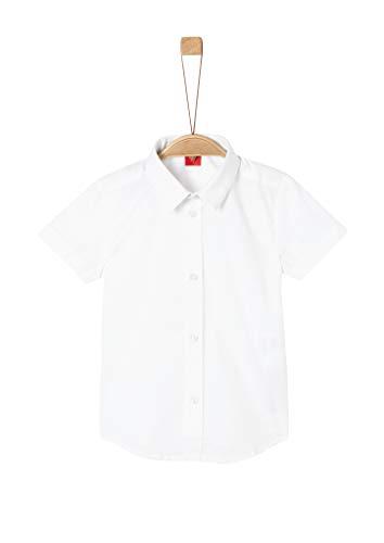 s.Oliver RED Label Jungen Slim: Stretch-Kurzarmhemd White 128/134.Slim