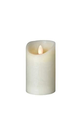 sompex Shine LED Kerze | Fernbedienbar | Timerfunktion | Multi LED Technik | Echtwachs | Ø 7,5 cm | Elfenbein Frost | - in verschiedenen Größen, Höhe:12.5 cm