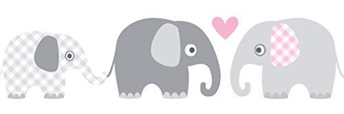 lovely label Bordüre selbstklebend Elefanten GRAU/ROSA - Wandbordüre Kinderzimmer/Babyzimmer mit Elefanten - Wandtattoo Schlafzimmer Mädchen & Junge – Wanddeko Baby/Kinder
