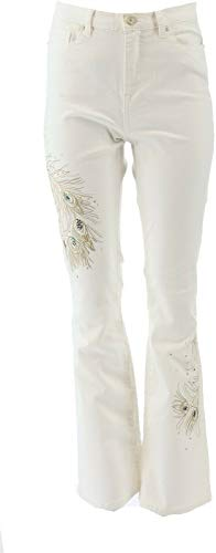DG2 Diane Gilman Peacock Embellished Boot-Cut Jean Ivory 12P New 697-760
