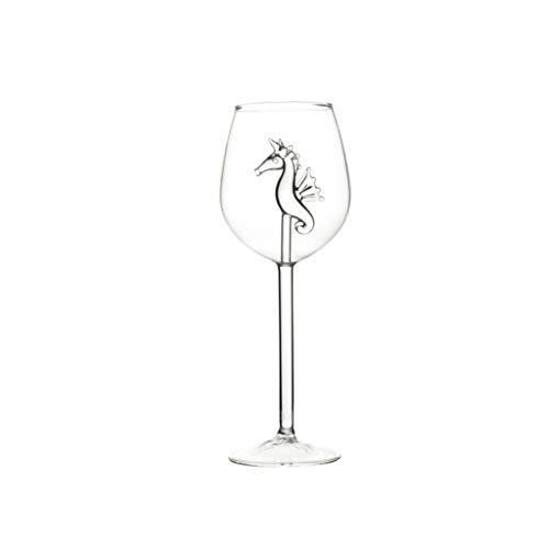 Copas de vino tinto de 300 ml, cristal hipocampo delfines delfines copas de vino tinto copa copa copa copa para el hogar bar fiesta