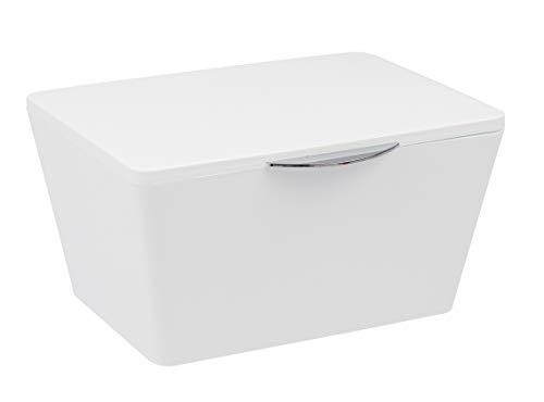 WENKO Aufbewahrungsbox mit Deckel Brasil Weiß - Aufbewahrungskorb, Badkorb mit Deckel, Kunststoff (TPE), 19 x 10 x 15.5 cm, Weiß