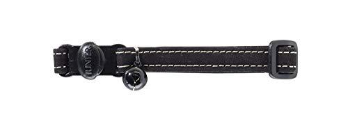 HUNTER Hunting Halsband für Katzen, Leder, Nubuk, robust,weich, schwarz