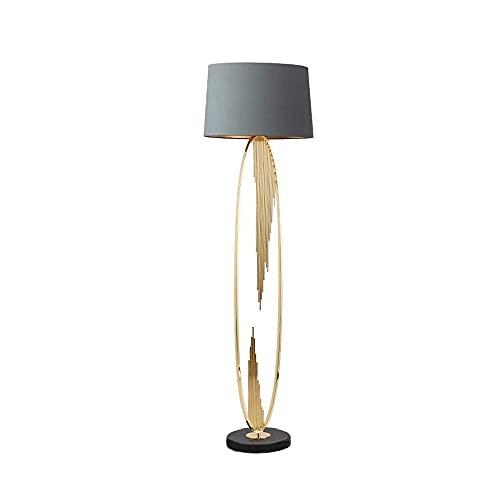 CHENJIA Americana Lámpara de pie, de hierro Art + + mármol pantalla de la tela Sala Comedor Dormitorio decoración del hogar de la lámpara 46 * 154 cm