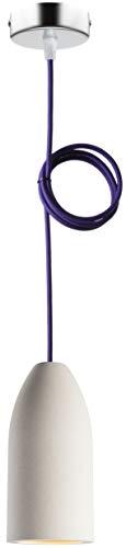 """Beton Lampe (hängend), Textilkabel\""""Violett\"""" (26 Farben wählbar), 7,5 x 16 cm, incl. LED (Dimmbar), Küchenleuchte Buchenbusch urban design"""