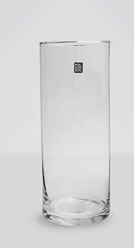 Maison Zoe Mundgeblasene und Handgefertigte Glasvase Zylinder Ø15cm - 40cm hoch - Blumenvase - Deko & Hochzeit