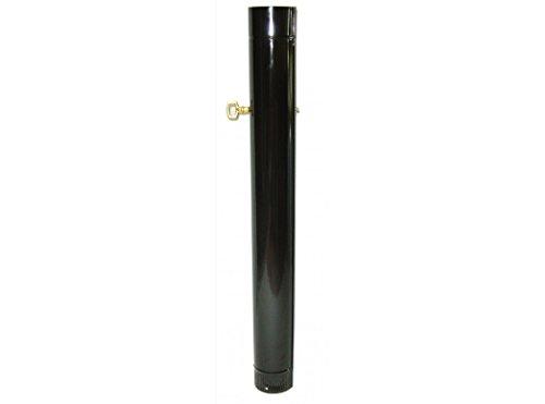 WOLFPACK LINEA PROFESIONAL 22011005 Tubo Estufa Negro Vitrificado de 100mm Con Llave de 25cm, Multicolor