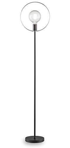 loxomo - Ring-Leuchte, 20 x 30 x 144 cm, Stehleuchte mit Chromring für Schlafzimmer, Wohnzimmer, Esszimmer, bis max.60W, Dekoleuchte mit E27 Fassung, IP20, Schwarz/Chrom, ohne Leuchtmittel